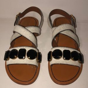 Marni white fur sandal with stones in size 38